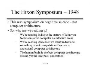 The Hixon Symposium 1948 This was symposium on