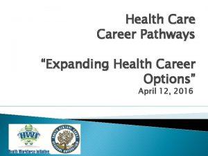 Health Career Pathways Expanding Health Career Options April