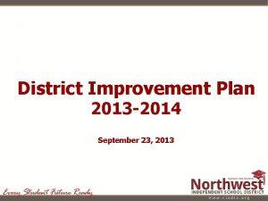 District Improvement Plan 2013 2014 September 23 2013