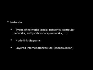 Networks Types of networks social networks computer networks