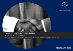 PRESENTATION OF THE AUDITORGENERAL TO THE PORTFOLIO COMMITTEE