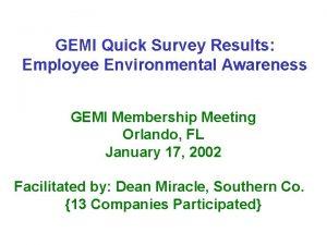 GEMI Quick Survey Results Employee Environmental Awareness GEMI