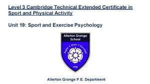 Level 3 Cambridge Technical Extended Certificate in Sport
