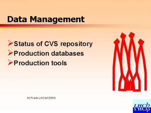 Data Management Status of CVS repository Production databases