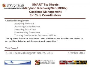 SMART Tip Sheets Maryland Recovery Net MDRN Caseload