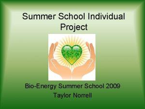 Summer School Individual Project BioEnergy Summer School 2009