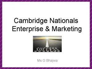 Cambridge Nationals Enterprise Marketing Ms G Bhajwa Curriculum