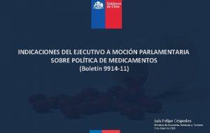 INDICACIONES DEL EJECUTIVO A MOCIN PARLAMENTARIA SOBRE POLTICA