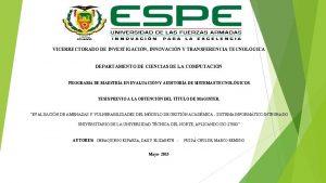 VICERRECTORADO DE INVESTIGACIN INNOVACIN Y TRANSFERENCIA TECNOLGICA DEPARTAMENTO