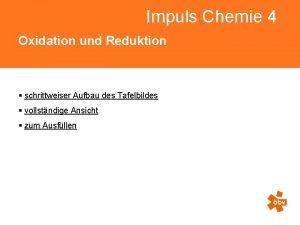 Impuls Chemie 4 Oxidation und Reduktion schrittweiser Aufbau