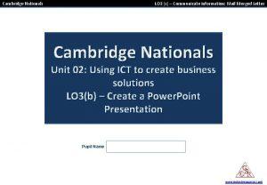 Cambridge Nationals LO 3 c Communicate information Mail