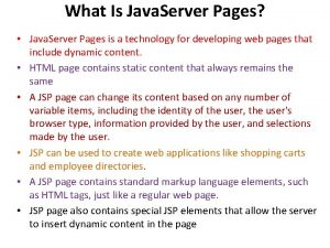 What Is Java Server Pages Java Server Pages