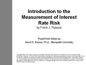 Introduction to the Measurement of Interest Rate Risk