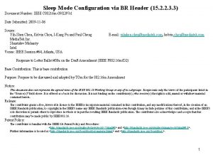 Sleep Mode Configuration via BR Header 15 2