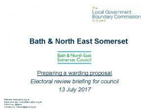 Bath North East Somerset Preparing a warding proposal