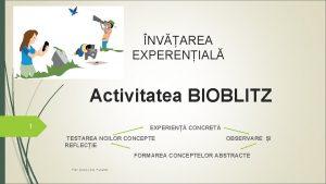 NVAREA EXPERENIAL Activitatea BIOBLITZ 1 EXPERIEN CONCRET TESTAREA