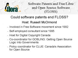 Software Patents and FreeLibre and Open Source Software