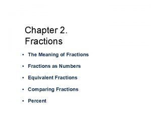 Chapter 2 Fractions The Meaning of Fractions Fractions