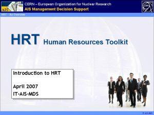CERN European Organization for Nuclear Research Administrative AIS