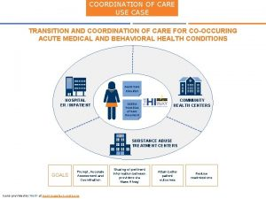 COORDINATION OF CARE USE CASE TRANSITION AND COORDINATION