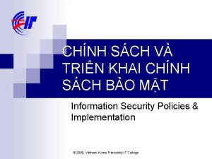 CHNH SCH V TRIN KHAI CHNH SCH BO