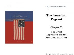 Cover Slide The American Pageant Chapter 33 The
