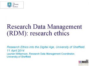 Research Data Management RDM research ethics Research Ethics