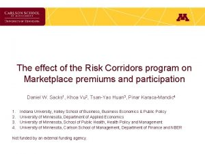 The effect of the Risk Corridors program on