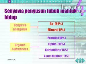 Senyawa penyusun tubuh mahluk hidup Senyawa anorganik Air