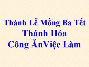 Thnh L Mng Ba Tt Thnh Ha Cng
