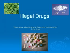 Illegal Drugs Dena Lackey Adrianna Jenkins Dieula John