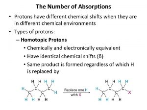 The Number of Absorptions Protons have different chemical