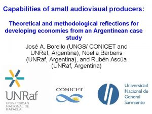 Capabilities of small audiovisual producers Theoretical and methodological