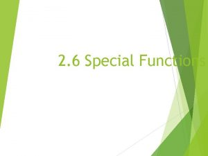 2 6 Special Functions Constant Function A linear