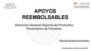 APOYOS REEMBOLSABLES Direccin General Adjunta de Productos Financieros