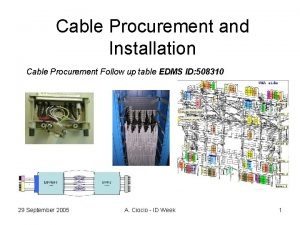 Cable Procurement and Installation Cable Procurement Follow up