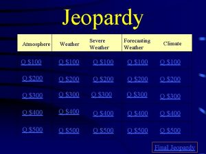 Jeopardy Severe Weather Forecasting Weather Climate Atmosphere Weather