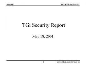 May 2001 doc IEEE 802 11 01325 TGi