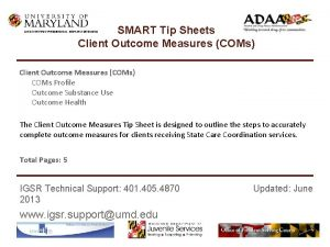 SMART Tip Sheets Client Outcome Measures COMs INSTITUTE