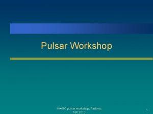 Pulsar Workshop MAGIC pulsar workshop Padova Feb 2010
