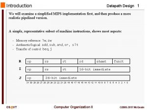 Introduction Datapath Design 1 We will examine a