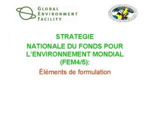 STRATEGIE NATIONALE DU FONDS POUR LENVIRONNEMENT MONDIAL FEM
