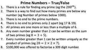 Prime Numbers TrueFalse Prime Numbers TrueFalse Prime Numbers