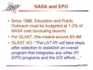 NASA and EPO Since 1996 Education and Public