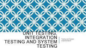 UNIT TESTING INTEGRATION TESTING AND SYSTEM TESTING Testing