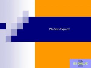 Windows Explorer IDI DALJE Windows Explorer n Windows