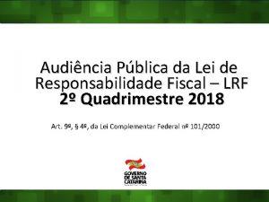 Audincia Pblica da Lei de Responsabilidade Fiscal LRF