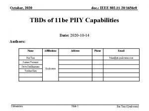 October 2020 doc IEEE 802 11 201656 r