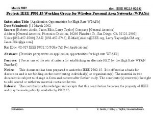 March 2002 doc IEEE 802 15 02143 Project