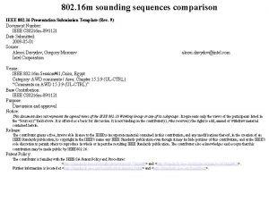 802 16 m sounding sequences comparison IEEE 802